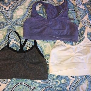Set of three sports bras